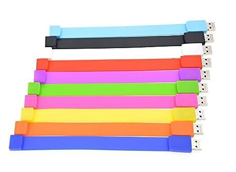 FEBNISCTE 10 Pièce 4GB Bracelet Clé USB 4Go Mémoire USB2.0 - 10 Couleur Assortie