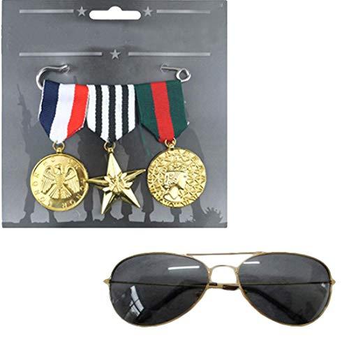 Islander Fashions Gold Top Sonnenbrillen und Plastik Medaille Kost�m Kit Zubeh�r-One (Aviator Kostüm Kit)