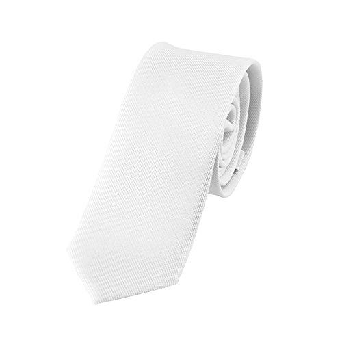 DonDon Schmale weiße handgefertigte Krawatte 5 cm // verschiedene Farben wählbar