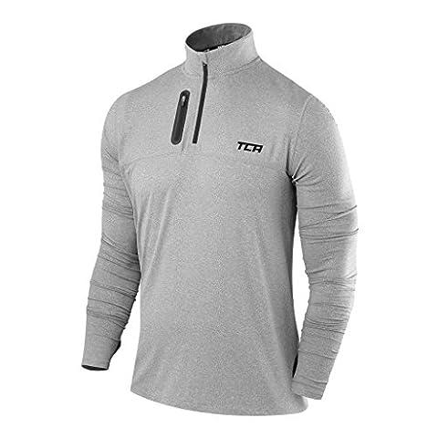 Men's TCA Fusion Pro QuickDry Long Sleeve Half-Zip Running Top Heather Grey L