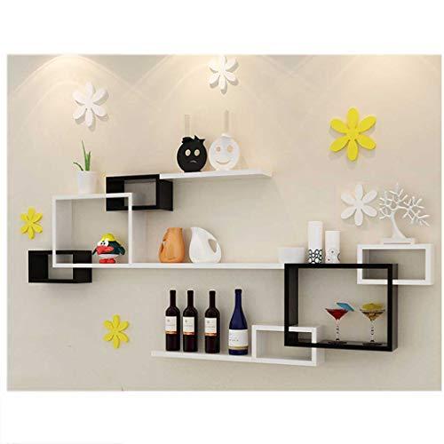 Wand-dekorativer 3 Würfel-schneidene an der Wand befestigte sich hin- und herbewegende Regale, multifunktionales mehrschichtiges Gitter-Gestell, Wohnzimmer Fernsehhintergrund-Kabinett ( größe : A ) (Gestell-regal Schieben)