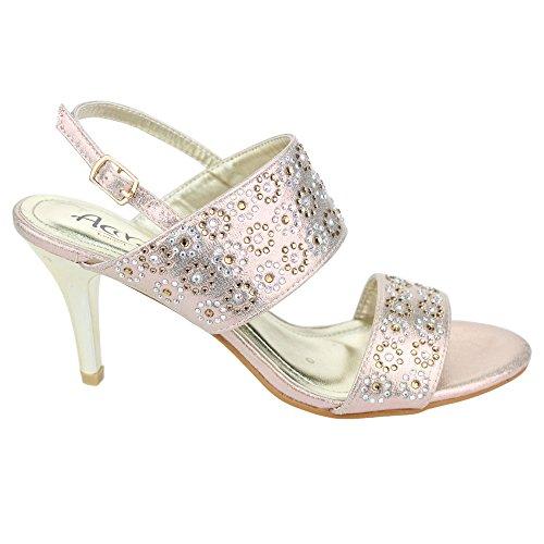Silber hochzeit abend party Frauen Diamante Champagner Schuh größe gold Ferse Sandale Champagner Aarz Abendmittelklasse dame wIx7xtR