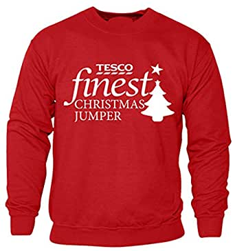 Christmas Tesco Finest Red Jumper Sweatshirt Mens Ladies Funny top for Xmas and Secret Santa Novelty Gift