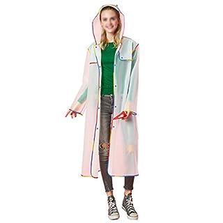 AiSi Rain Mac, Portable Translucent Hooded Long Rain Jacket EVA Raincoat Unisex Rain Poncho Waterproof Rainwear for Traveling Walking Cycling Motorbiking (White, XXL)