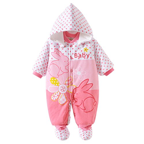 Baby Strampler Overall Winterjacke Onesie Unisex Cartoon Baby Strampelanzug mit Kapuze 9 Monate Vine