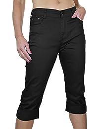ICE (1491-1) Pantacourt Extensible à Revers en Jeans Avec Broderie Noir