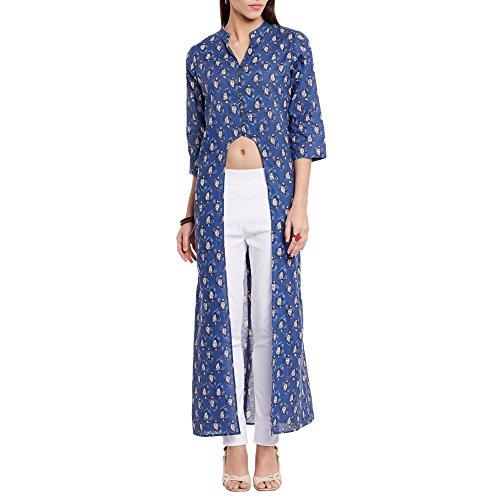 Frauen Baumwolle U Schnitt gedruckt lange Kurta V Ausschnitt, groß, blau (Kurta Großen Blauen)