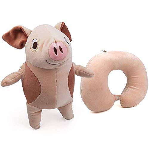 Fashion_Man Kinder Nackenstütze Nackenkissen Reisekissen Nackenstützen für Kinderautositze Dekokissen Schaumstoff Gefüllt Spielzeug, Braunes Schwein