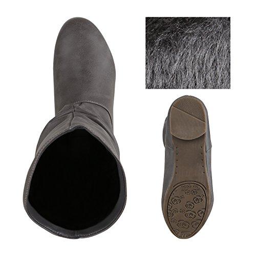 Stiefelparadies Damen Klassische Stiefel Schlupfstiefel Leder-Optik Bequeme Stiefeletten Boots Leicht Gefütterte Schuhe Flandell Grau Hellgrau