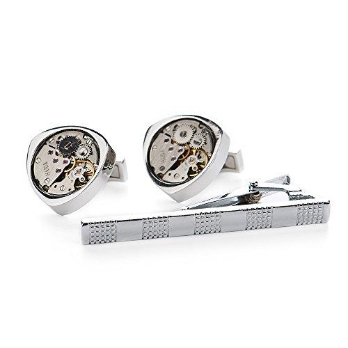 Vkatech Manschettenknöpfe Steampunk Uhrwerk Uhr Bewegung Watch Movement, krawatte clips, cuff link butto Präsentation Box für Männer Geschenk
