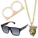 Beelittle Hip Hop Rapper Gangster Kit de disfraces - Celebrity Estilo retro Gafas Collar de cadena de oro Chapado en oro Anillo de Hip Hop - 80s 90s Kit de accesorios (D)
