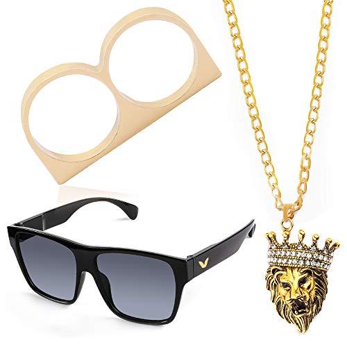 Beelittle Hip Hop Rapper Gangster-Kostüm-Set - Promi-Retro-Stil-Goldkette Goldkette Hip Hop Ring - 80er Jahre 90er Jahre Zubehörset (D)