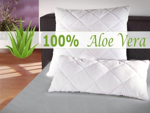 klassisches Kopfkissen - Aloe Vera - für erholsamen Schlaf - geprüft nach Öko-Tex Standard 100 - in 2 verschiedenen Größen, 40 cm x 80 cm