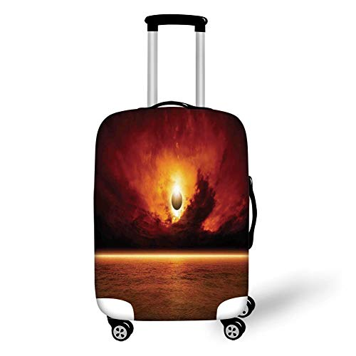 Travel Luggage Cover Suitcase Protector,Mystic House Decor,Dramatic Apocalyptic Sun Eclipse View with Dark Red Sky Sea Horizon Decorative,Orange and Yellow,for Travel