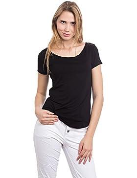 Abbino 267923 Basics Camisetas Tops Camisas para Mujer - Hecho en ITALIA - 5 Colores - Verano Otoño Entretiempo...