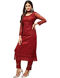 Mordenfab Women's Net & Santoon Semi-stitched Salwar Suit (q17_Red_Free Size)