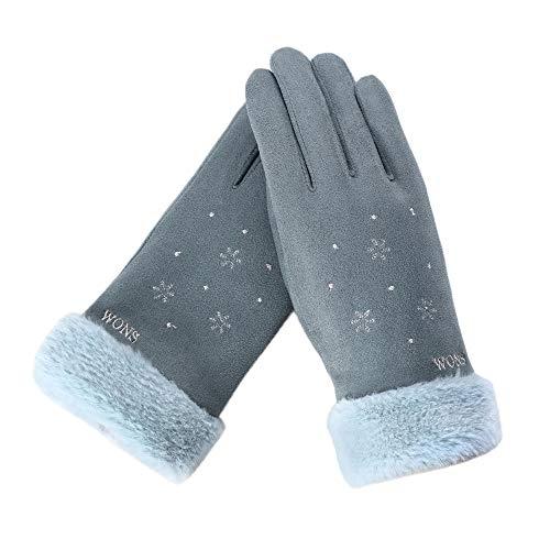 FeiBeauty Winter-Damen-Schneeflocke WONS bestickt Wildleder warme Handschuhe Outdoor-Temperament Sporthandschuhe können Touchscreen anrufen.