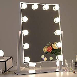 Chende Tabletop Professionelle Schminkspiegel mit Licht, Beleuchteter Kosmetikspiegel mit dimmbaren LED-Lampen, Hollywood Spiegel mit 3 Farbe Licht Umwandlung (Weiß)