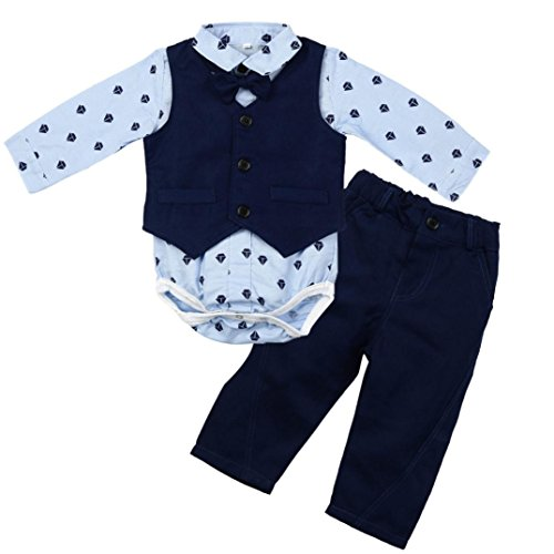 �ugling Baby Jungen Drucken Tops Romper + Vest + Pants Outfits Kleider Set 6-24Monat Xinantime (6 Monat, Blau) ()