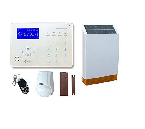 JEIKO Sistema d'allarme per casa senza fili con doppio combinatore telefonico GSM & PSTN e sirena integrata, sensore di movimento per interno, sensore porta-finestra, telecomando – Sirena solare esterna Pronto all'uso