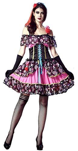 Bslingerie® Damen Tag der Toten Einteiliges Kleid (M, Schwarz & ()
