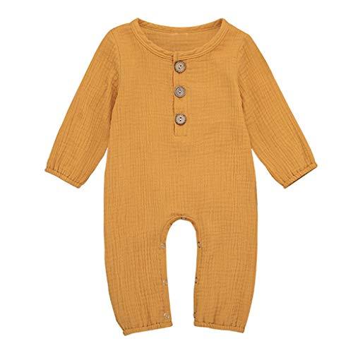 LEXUPE Neugeborene Baby Boy Girl Baumwolle Leinen Feste Strampler Overall Kleidung Outfits(Gelb,90)