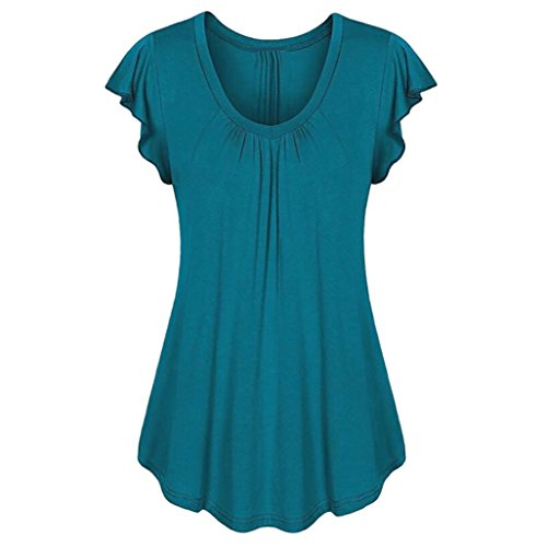 Yvelands Damen Rundhals Geripptes Sleeve Casual Falten Kurzarm T-Shirt mit Stretch Top