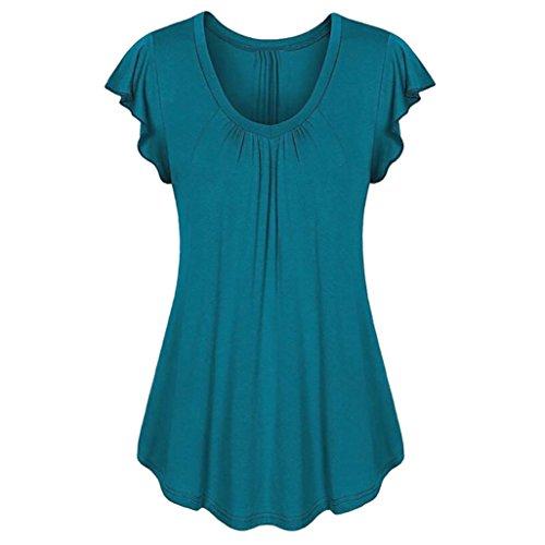 Yvelands Damen Rundhals Geripptes Sleeve Casual Falten Kurzarm T-Shirt mit Stretch Top -