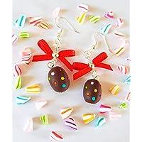 boucles d'oreilles œufs de pâques,cadeau paques,oeufs de paques,noeud satin,oeuf chocolat,pois,multicolore,rigolo,cadeau original paques