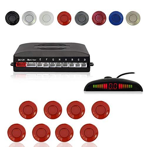 CoCar Auto Rückfahrwarner Einparkhilfe 8 Sensoren Einparkassistent Einparksystem PDC + LED Anzeigen + Akustische Warnung - Rot