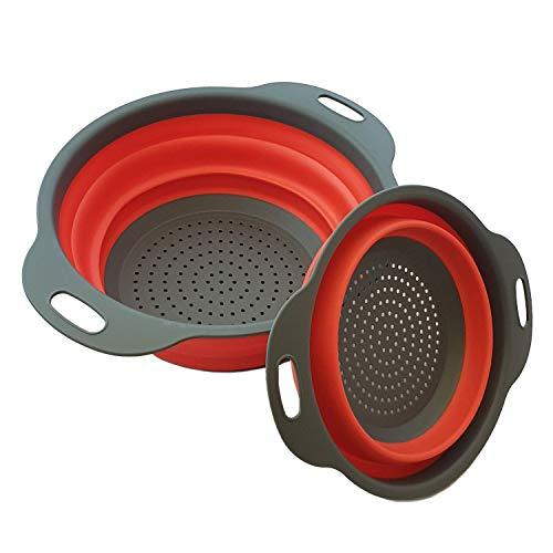 BlueFox 2er Set Sieb, Faltbare Seiher aus Silikon, Faltsieb, Nudelsieb mit Griff, Küchensieb klappbar, platzsparend, Abtropfsieb für Obst und Gemüse, Farbe: Grau/rot