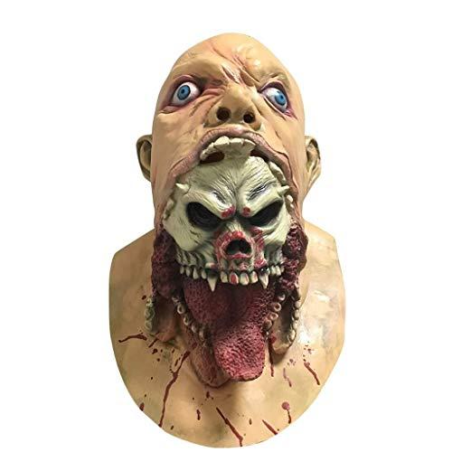 WANG XIN Unheimlich Halloween Kostüm Party Bloody Head Maske Walking Dead Zombie Horror Gesichtsmaske Evil Killer Kostüm for Erwachsene
