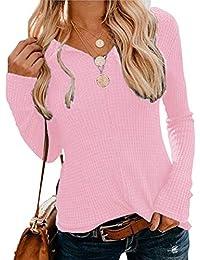 OranDesigne Pullover Damen Langarmshirt Casual Einfarbig Langarm T-Shirt V-Ausschnitt Pullover Slim Fit Oberteil Tops