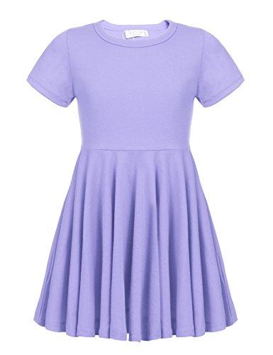 Kleid Mädchen Sommer A-Linie Kurzarm Baumwolle T-Shirt Kleider Freizeitkleidung, Helles Lila, 110
