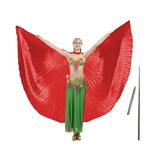 imucci 140cm 14Farben 360Grad Ägypten indischen Bauchtanz Wing Fan Tanzen Isis Flügel, Adult red with stick (Red Wings Kostüm)