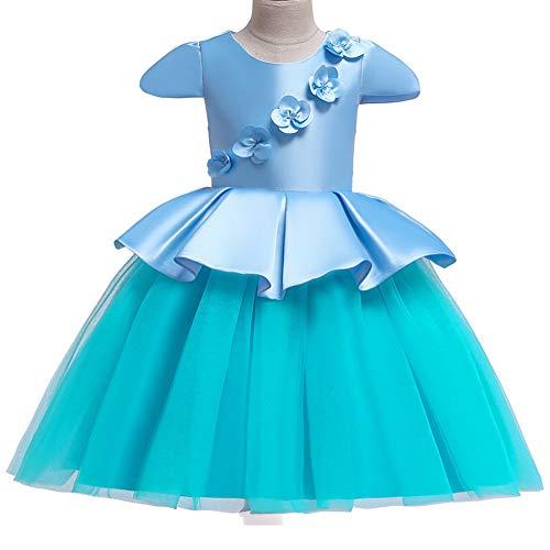 YGCLOTHES Mädchen Blumenkleid, Kinderkleid Satin Mesh Gaze Stich Prinzessin Kleid Farbe Hochzeitskleid, Für Party Tiered Hochzeit Party Maxi Kleid 3-10 Jahre,Blue,110cm - Tiered Gaze