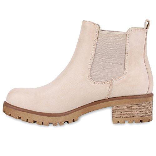 Bequeme Damen Chelsea Boots Profilsohle Stiefeletten Blockabsatz Nude Glatt