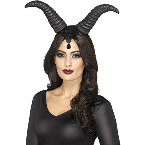 �rner Teufelshörner schwarz Halloween Haarreif Satan Lange Tierhörner ()