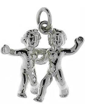 Derby Anhänger Sternzeichen Zwilling Tierkreiszeichen massiv echt Silb Sterling-Silber 925 - 23517