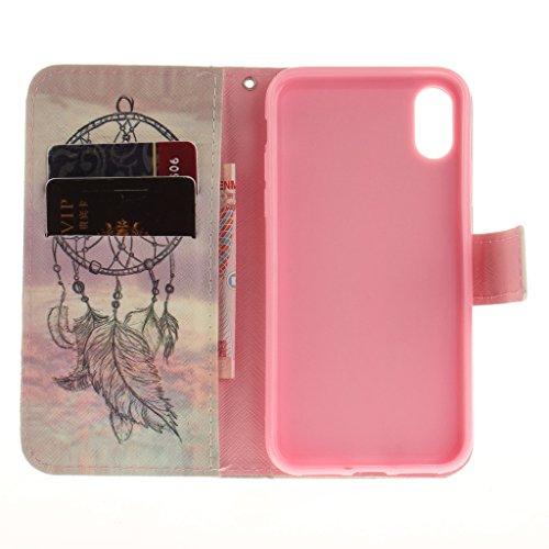 """Coque pour Apple iPhone X ,IJIA Enveloppe De Londres PU + TPU Doux Silicone Slot Flip Cuir Portefeuille ID Credit Card fonction Case Cover Coque Housse Etui pour Apple iPhone X (5.8"""") V27"""