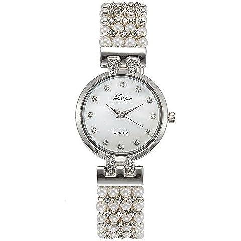 Las señoras oro blanco perla diamante cuarzo resistente al agua relojes , 1