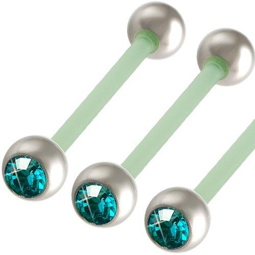 3er set 1,6mm 19mm Zungenpiercing Flexi Acryl Hantel Ohr Nippel Kristall Blau Brust Body Jewelry BCIW -