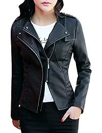 Yasong Women Ladies Girls Slim Fitted Zip up Long Sleeve Faux Leather PU Jacket Punk Biker Motorcycle Cropped Jacket