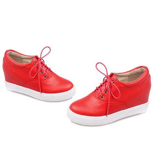 VogueZone009 Femme Lacet Pu Cuir Rond Couleur Unie à Talon Haut Chaussures Légeres Rouge