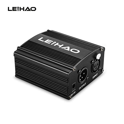 Zenuss JUTEK LEIHAO 48V Phantom Power Supply for Condenser Microphone (Black)