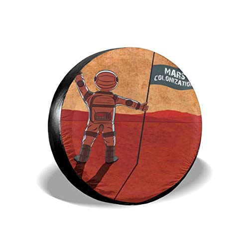 Tire Cover Tire Cover Wheel Covers,Colonization Of Mars With Cosmonaut On Planet With A Flag Discovery Image,for SUV Truck Camper Travel Trailer Accessories(14,15,16,17 Inch),Tire Cover size:16inches (Hot Wheels Mars)