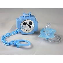 Succhietto / Ciuccio con portaciuccio a catenella e scatolina Mickey Mouse argento