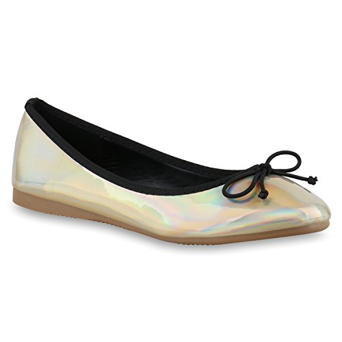 Klassische Damen Ballerinas Lederimitat Schuhe Nude Metallic Gold Schwarz