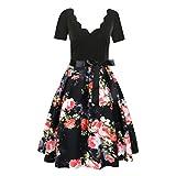 JMETRIC Damen Freizeitmode Gürtel Kleid ärmellos V-Ausschnitt Knielock mit Blumendruck(Rot,L)