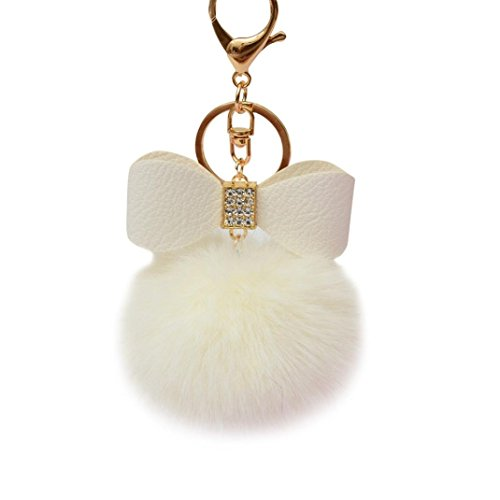 Keychain Key Ring Pendant,Sainagce 1 Pcs Elegant Bowknot Fluffy Plush Faux Fur Pom Pom Key Pendant Key Chain Key Ring Keychain Keyring for Car Handbag Bag Accessories Small Gift (White)